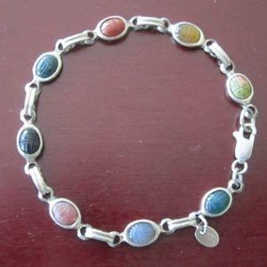 Vintage Sterling Silver Stone Scarab Bracelet